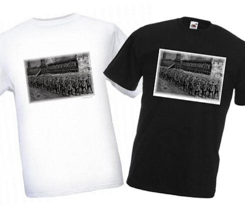 Men's Black & White T-shirts – Night March Past Cloth Hall – Bellewaarde – WW1