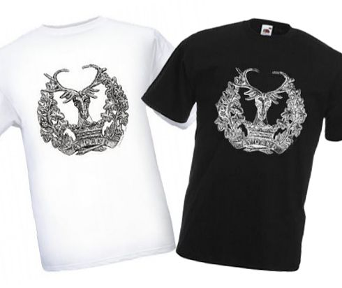 Men's Black & White T-shirts – Gordon Highlanders Cap Badge – Bellewaarde – WW1