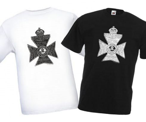 Men's Black & White T-shirts – King's Royal Rifle Corps Cap Badge – Bellewaarde – WW1