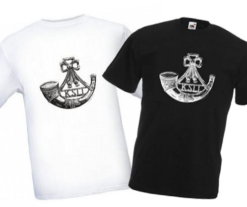 Men's Black & White T-shirts – King's Shropshire Light Infantry Cap Badge – Bellewaarde – WW1