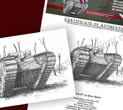 WW1 MkIV Tank Limited Edition Print & Certificate of Authenticity