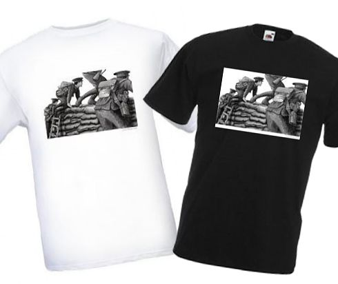 Men's Black & White T-shirts – Going Over the Top – Bellewaarde – WW1