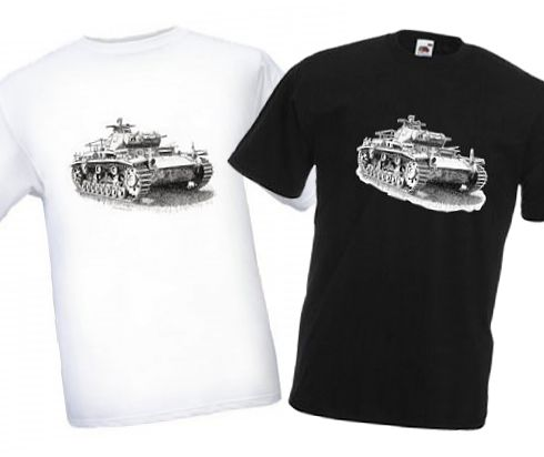 Men's Black & White T-shirts - German Panzer III Tank - WW2