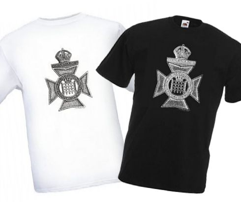 Men's Black & White T-shirts – Queen's Westminster Rifles Cap Badge – Bellewaarde – WW1