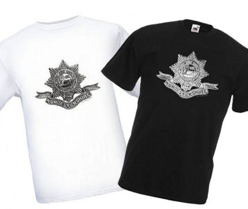 Men's Black & White T-shirts – Worcestershire Regiment Cap Badge – Bellewaarde – WW1