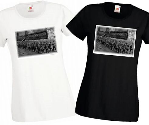 Ladies' Black & White T-shirts – Night March Past Cloth Hall – Bellewaarde – WW1