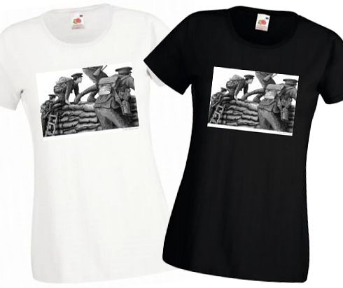 Ladies' Black & White T-shirts – Going Over the Top – Bellewaarde – WW1