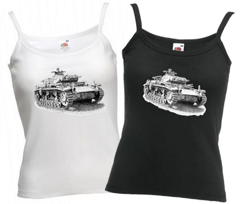 Ladies' Black & White Strap T-shirts - German Panzer III Tank - WW2