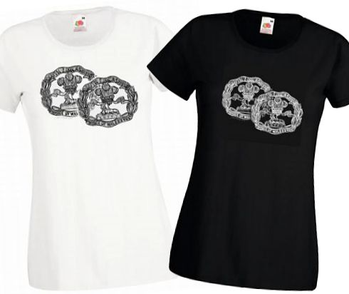 Ladies' Black & White T-shirts – South Lancashire Regiment (Territorials & Regulars) Cap Badges – Bellewaarde – WW1