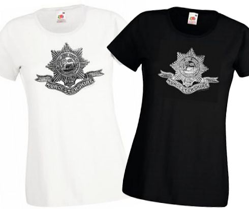 Ladies' Black & White T-shirts – Worcestershire Regiment Cap Badge – Bellewaarde – WW1