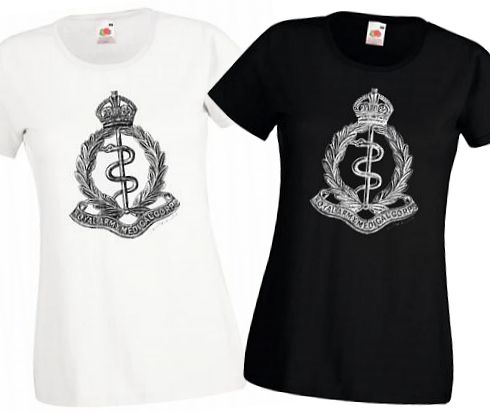 Ladies' Black & White T-Shirts – Royal Army Medical Corps Cap Badge – WW1