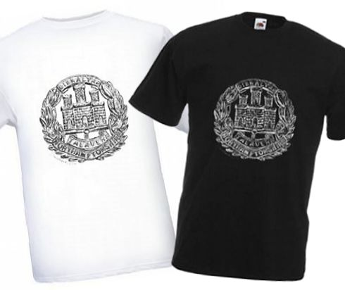 Men's Black & White T-shirts – Northamptonshire Regiment Cap Badge – WW1
