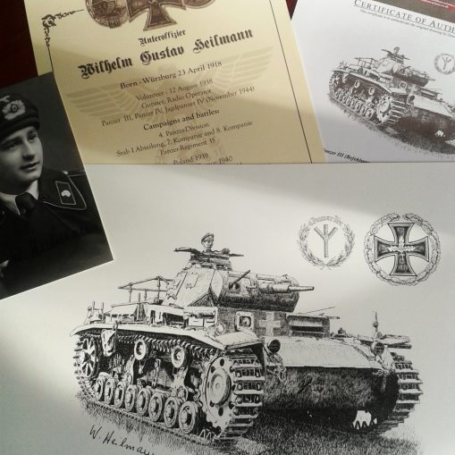 Panzer III Original Pen & Ink Drawing Package - Signed by WW2 Panzer Veteran