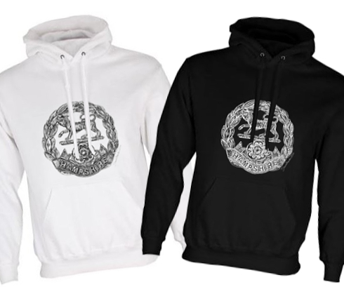 Unisex Black/White Hoodies (Front Printed) - Hampshire Regiment - First & Second World War Cap Badge