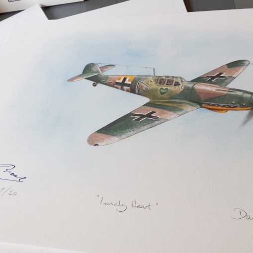 Messerschmitt Bf 109G-2 Limited Edition Print Signed by Hugo Broch