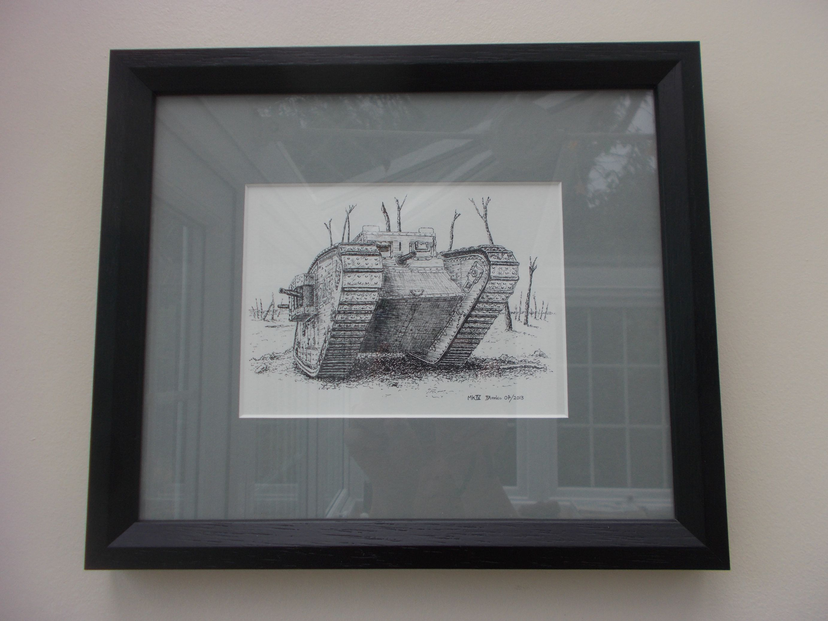 WW1 British MkIV Female Tank - Dawn Monks Framed Original Pen & Ink Illustration