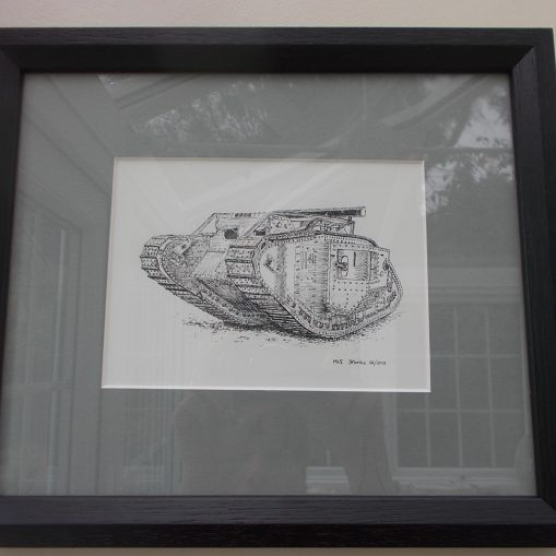 WW1 British Male Mark V Tank - Dawn Monks Framed Original Pen & Ink Illustration