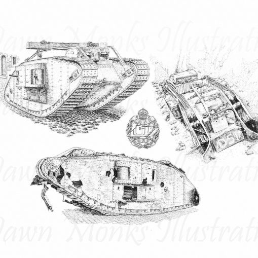 Pen & Ink Illustration - WW1 British MkIV Tank - Story of Deborah D51