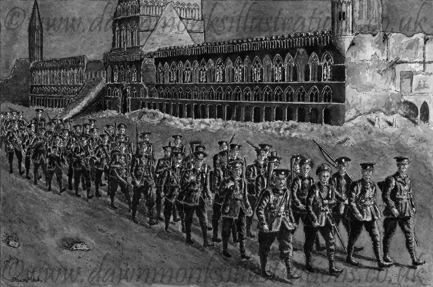 Night March Past Cloth Hall - Pen & Ink