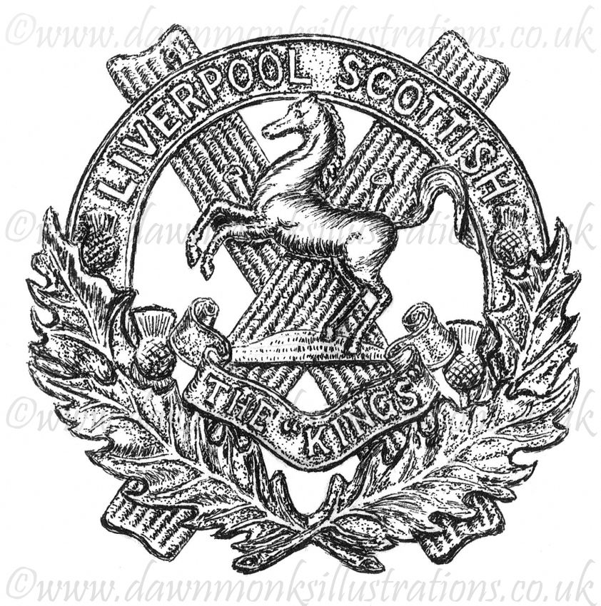 10th King's Liverpool Scottish WW1 Cap Badge - Pen & Ink Book Illustration - Bellewaarde 1915