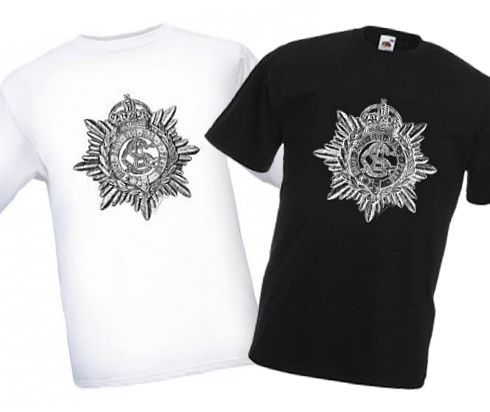 Men's Black & White T-shirts – Army Service Corps Cap Badge – Bellewaarde – WW1