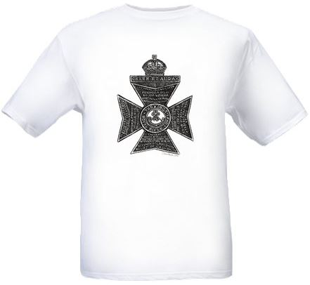 Men's White T-shirt - King's Royal Rifle Corps Cap Badge - Bellewaarde - WW1
