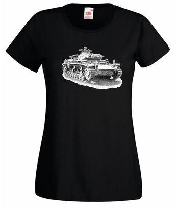 Ladies' Black T-shirt - German Panzer III Tank - WW2