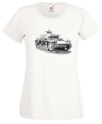 Ladies' White T-shirt - German Panzer III Tank - WW2
