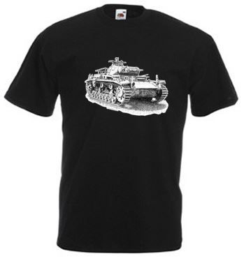 Men's Black T-shirt - German Panzer III Tank - WW2