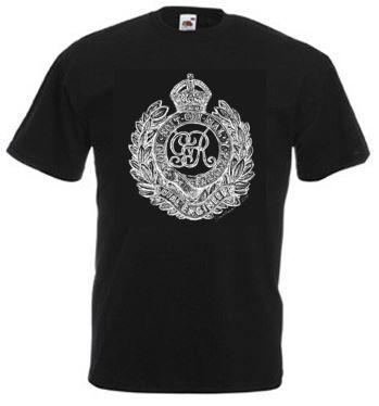 Men's Black T-shirt – Royal Engineers Cap Badge – Bellewaarde – WW1