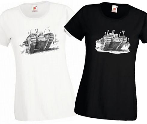 Ladies' Black & White Strap T-Shirts - British MkIV Tank - WW1