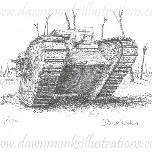 WW1 MkIV Tank Limited Edition Print