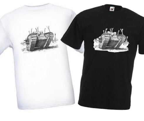 Men's Black & White T-Shirts - British MkIV Tank - WW1