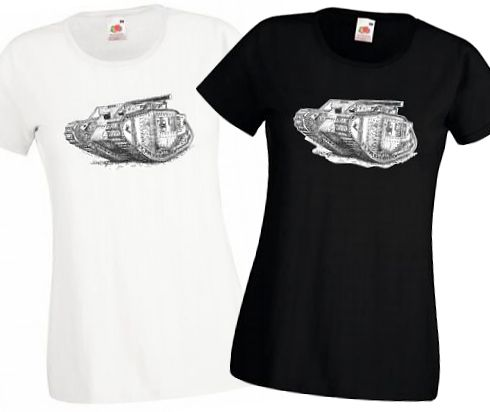 Ladies' Black & White T-Shirts - British MkV Tank - WW1