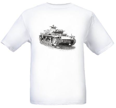 Men's White T-shirt – German Panzer III Tank – WW2