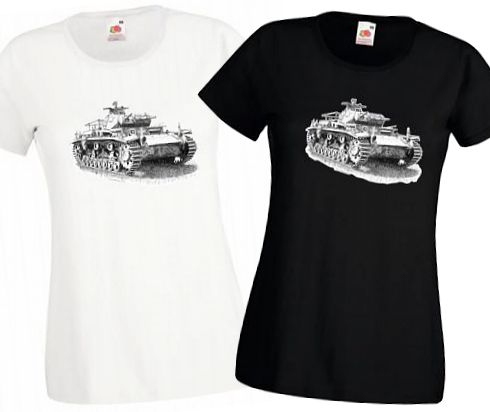Ladies' Black & White T-shirts - German Panzer III Tank - WW2