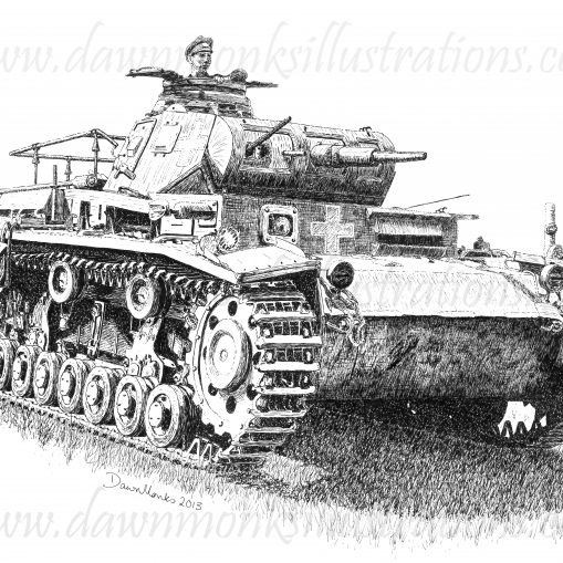T-shirt Design - German Panzer III - WW2