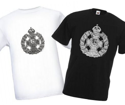 Men's Black & White T-shirts – Rifle Brigade Cap Badge – Bellewaarde – WW1