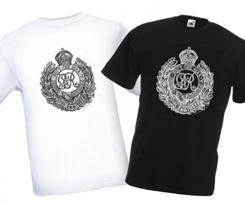 Men's Black & White T-shirts – Royal Engineers Cap Badge – Bellewaarde – WW1