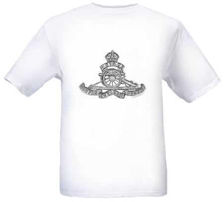 Men's White T-shirt - Royal Field Artillery Cap Badge - WW1