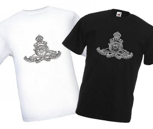 Men's Black & White T-shirts – Royal Field Artillery Cap Badge – WW1