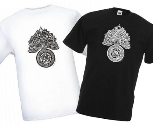 Men's Black & White T-shirts – Royal Fusiliers Cap Badge – Bellewaarde – WW1