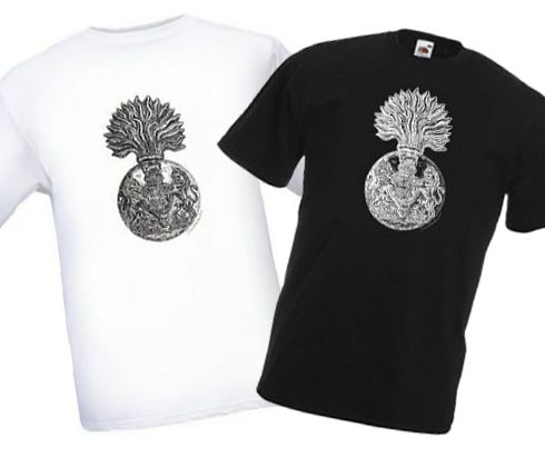 Men's Black & White T-shirts – Royal Scots Fusiliers Cap Badge – Bellewaarde – WW1