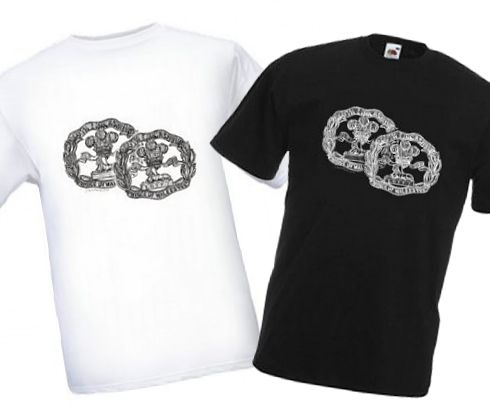 Men's Black & White T-shirts – South Lancashire Regiment (Territorials & Regulars) Cap Badges – Bellewaarde – WW1