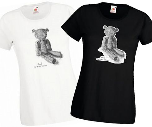 Ladies Black & White T-shirts – Fredo the WW2 Talisman Teddy Bear