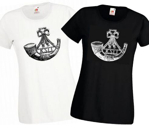 Ladies' Black & White T-shirts – King's Shropshire Light Infantry Cap Badge – Bellewaarde – WW1