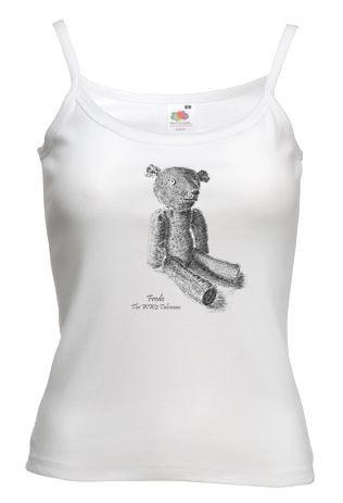Ladies White Strap T-shirt – Fredo the WW2 Talisman Teddy Bear