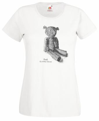 Ladies White T-shirt – Fredo the WW2 Talisman Teddy Bear