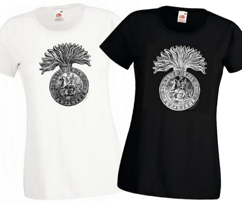 Ladies' Black & White T-shirts – Northumberland Fusiliers Cap Badge – Bellewaarde – WW1