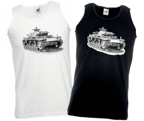 Men's Black & White Vests - German Panzer III Tank - WW2